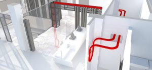 Overhead Transporter & Kiosk Render for Case Study